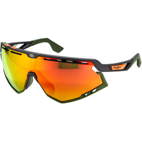 Rudy Project Defender Gafas, black matte/olive orange stripes/olive/multilaser orange
